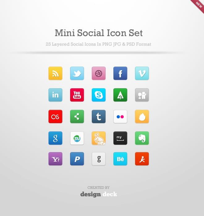 25 mini-iconos sociales en PSD. Gratis.