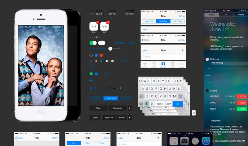 Plantilla PSD de la interface de iOS7 gratis